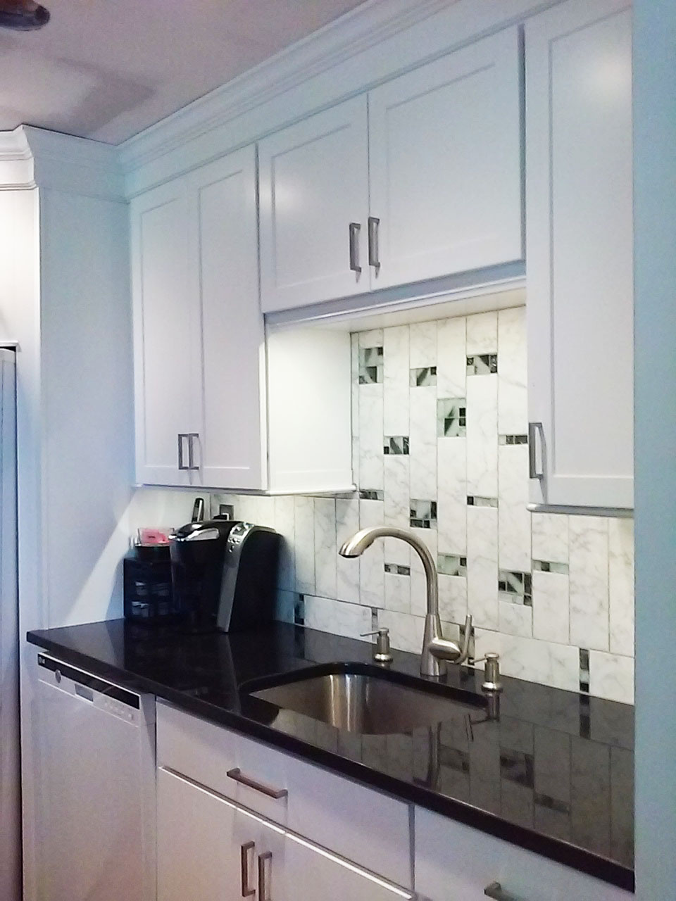 Glass And Asian White Marble Backsplash Kitchen Design Center